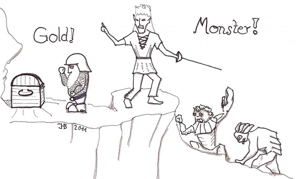 Helden in der Schatzhöhle kämpfen gegen Monster