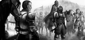 Endlich auch mal gewinnen wollen: Albernische Kämpfer auf dem Weg in die Wildermark. (Julia Metzger)