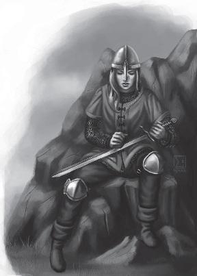 Elenviner Kriegerin bei der Waffenpflege