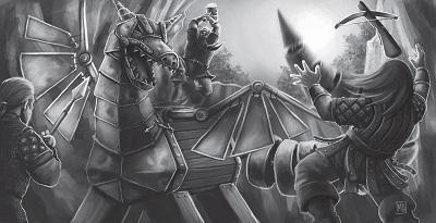 Zwerge im Kampf gegen den fast echten Drachen