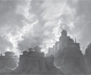 Hier dampft epische Mystik schon aus den Dächern: Ancchir im Regengebirge.