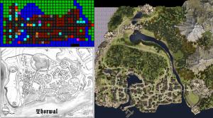 Thorwal im Wandel der Zeiten: Die Automap von 1992, der Stadtplan aus Unter dem Westwind und die Automap des aktuellen Spiels.
