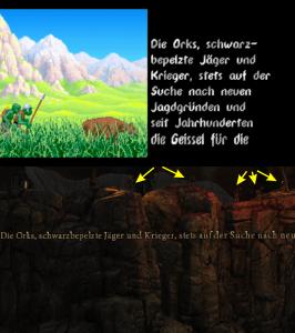 Die Intros im Vergleich. Oben die grünen Schwarzpelze des Originals, unten die zwar schwarzen, aber kaum zu erkennenden Orks des Remakes (Anklicken für eine große Version).