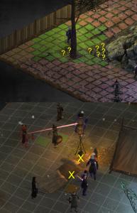Die Probleme des Kämpfers: Warum ist da ein Nadelöhr (betretbare Felder sind rot und grün)? Warum kann ich nicht über die Lagerstatt schießen ( das X markiert die Blockade der Sichtlinie)?