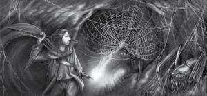 Smaragdspinne und Held in alter Mine von Sabrina Klevenow