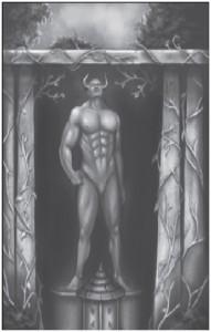 Und hier eine Darstellung des Gottes Levthan, man beachte insbesondere sein eindrucksvolle Männ... äh naja.