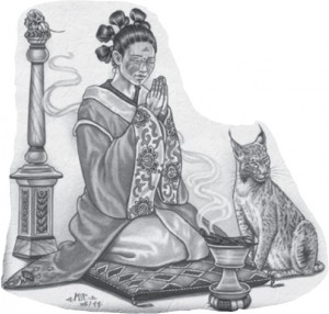 Tharun Frau mit Katze