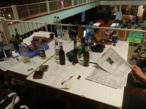 Spieltisch auf der Galerie.