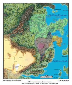 So leider nicht im Abenteuer enthalten: Eine politische Karte Araniens, basierend auf dem Ulisses-Kartenpaket (Nutzung auf Basis der Kartenpaket-Lizenz).