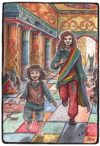 Auch als Babysitter geeignet: Tsa-Geweihe im Tempel (von Diana Rafoth)