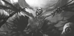 Wie hätten es die Spieler denn gern? Zwischen Sandkasten und Plotzwängen hin- und hergerissen - der Druide Zandon in der Gewalt des untoten Omegatherions (von Trsitan Denecke).
