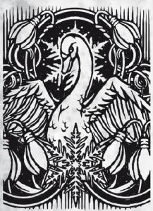 Schwan und Schneeflocke: Ifirn und Firun teilen sich das Buch (Bild von Tristan Denecke).