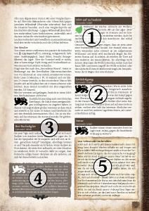 Beispielseite aus dem Abenteuer. Die Erklärungen zu den Elementen finden sich in der Liste links . 1 das grüne Erwachen-Lindenblatt, 2 das Kampagnen-Löwensymbol, 3 dunkler Optional-Balken, 4 dunkler Spielleiterkasten, 5 Pergament-Infokasten