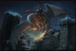 Es muss nicht immer ein Karakil sein: der Bösewicht reitet auf einem Perldrachen (Bild von NN)