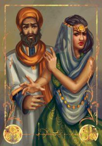 """Gegenbeispiel: Tulamidische Frau gibt Widerworte. Ihrem Ehemann ist jedoch nicht klar, dass sie """"ja"""" sagen will. (von L. lammer)"""