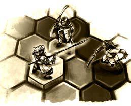 Drei Figuren auf einem Hex-Feld
