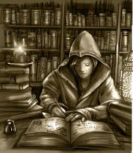 Ein Magier schreibt in einer Bibliothek ein Buch