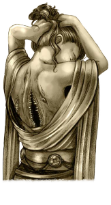 Eine Paktiererin im Kleid mit offenem Rücken, in dem meherere Münder mit Zähnen wachsen