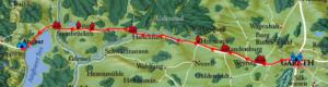 Karte mit Weg von Gareth nach Angbar
