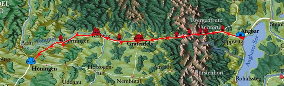 Route von Angbar nach Honingen